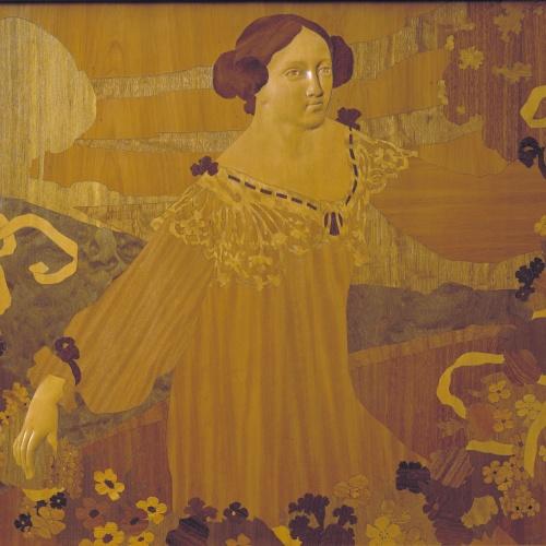 Gaspar Homar - Noia amb garlanda de cintes i flors - Cap a 1905