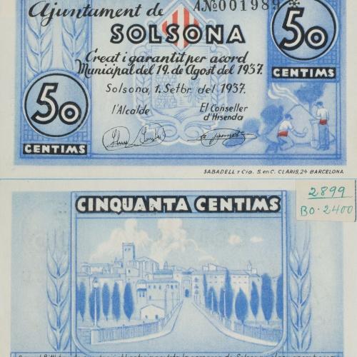 Ajuntament de Solsona - 50 cents - 01.09.1937