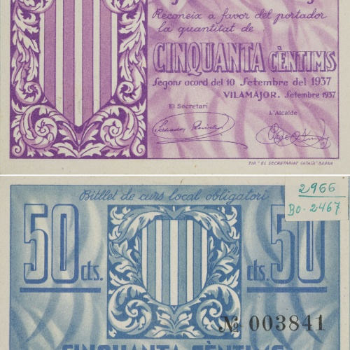 Ajuntament de Vilamajor. Sant Antoni de Vilamajor - 50 cents - 10.09.1937