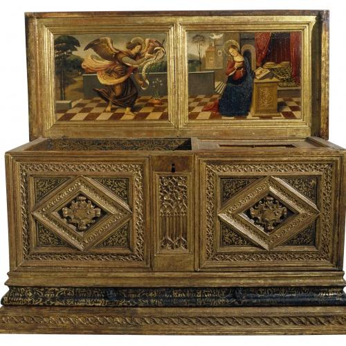 Anònim - Caixa de núvia amb l'Anunciació - Segon quart dell segle XVI
