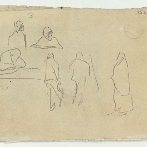 Marià Fortuny - Estudi per al quadre «La vicaria» (anvers) / Croquis de figures (revers) - Cap a 1868-1870 [1]