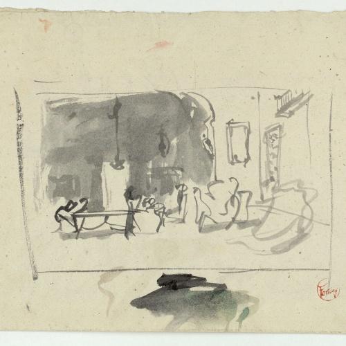Marià Fortuny - Estudi per al quadre «La vicaria» (anvers) / Esbós de figura masculina (revers) - Cap a 1868-1870