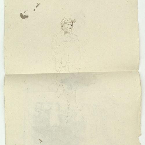 Marià Fortuny - Estudi per al quadre «La vicaria» (anvers) / Esbós de figura masculina (revers) - Cap a 1868-1870 [1]