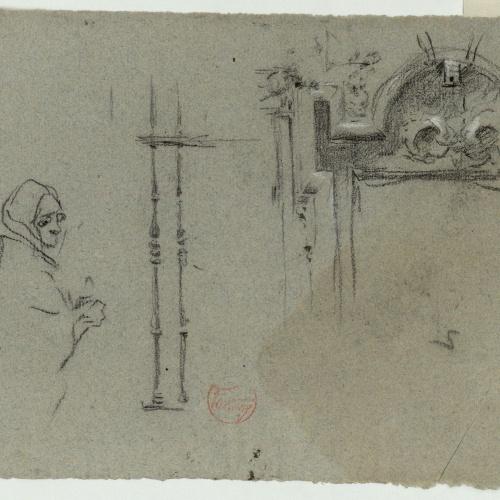 Marià Fortuny - Preliminary drawing of a female figure and ornamental motifs - Circa 1863-1867