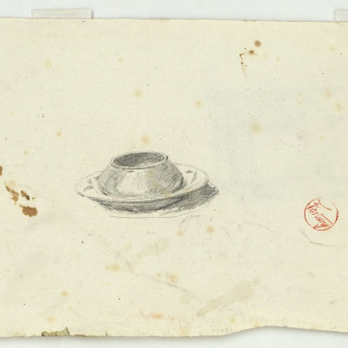 Marià Fortuny - Estudi per al gravat «Cabilenc mort» (anvers) / Estudi per al quadre «La vicaria» (revers) - Cap a 1867