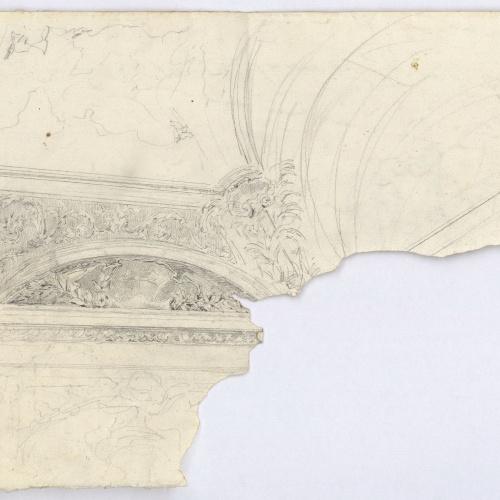 Marià Fortuny - Apunt de motllures i cornises d'un sostre (anvers) / Estudi per al quadre «La vicaria» (revers) - Cap a 1867-1874