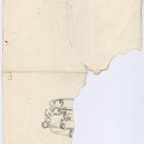 Marià Fortuny - Apunt de motllures i cornises d'un sostre (anvers) / Estudi per al quadre «La vicaria» (revers) - Cap a 1867-1874 [1]