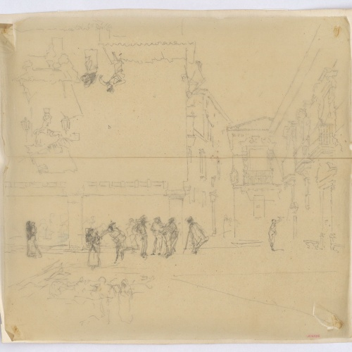 Marià Fortuny - Tracing of the study for the picture 'The Old Town Hall in Granada' - Circa 1872