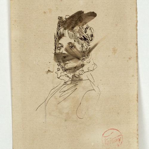 Marià Fortuny - Retrat de dona (anvers) / Estudi per al quadre «La vicaria» (revers) - Cap a 1870-1874