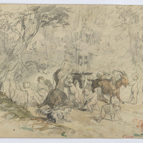 Marià Fortuny - Amorinos and animals in the forest - Circa 1860-1863