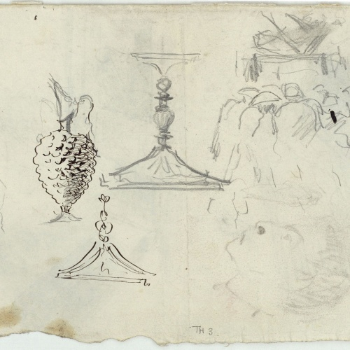 Marià Fortuny - Jug, glass and other preliminary drawings - Circa 1863-1867