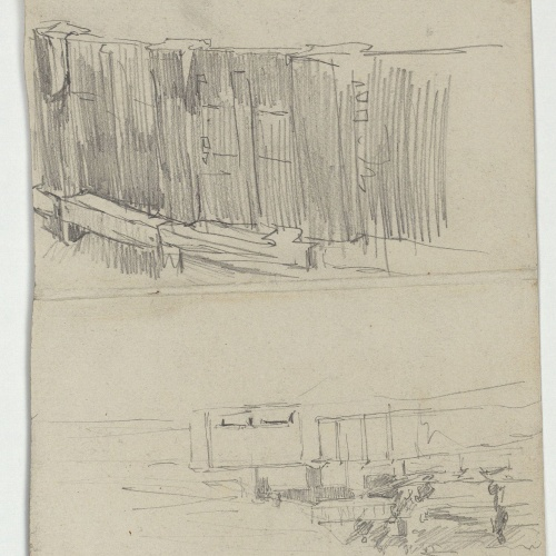 Marià Fortuny - Urban landscape and unidentifiable sketch - Circa 1871