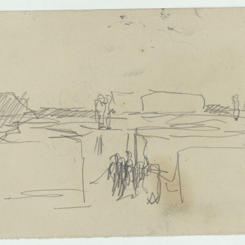 Marià Fortuny - Rough sketch of village with figures - Circa 1860-1862