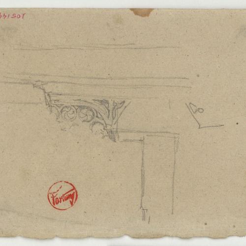 Marià Fortuny - Element arquitectònic (anvers) / Croquis inconcret (revers) - Cap a 1860-1862