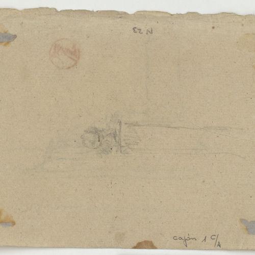 Marià Fortuny - Element arquitectònic (anvers) / Croquis inconcret (revers) - Cap a 1860-1862 [1]
