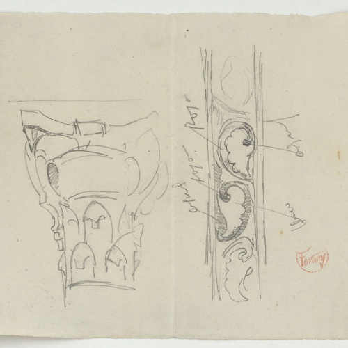 Marià Fortuny - Capitell corinti i sanefa - Cap a 1867-1870