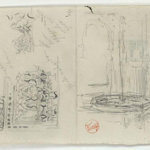 Marià Fortuny - Sanefa d'estil musulmà i brollador (anvers) / Croquis inconcret (revers) - Cap a 1860-1862