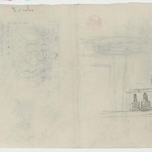 Marià Fortuny - Sanefa d'estil musulmà i brollador (anvers) / Croquis inconcret (revers) - Cap a 1860-1862 [1]