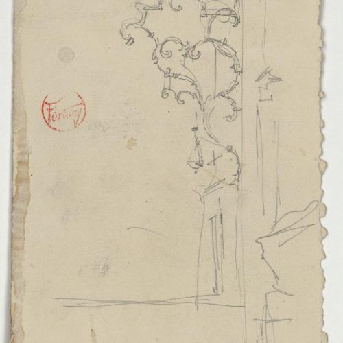 Marià Fortuny - Suport d'una llàntia votiva (anvers) / Elements ornamentals (revers) - Cap a 1868-1872