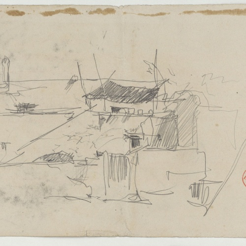 Marià Fortuny - View of a village - Circa 1870-1874