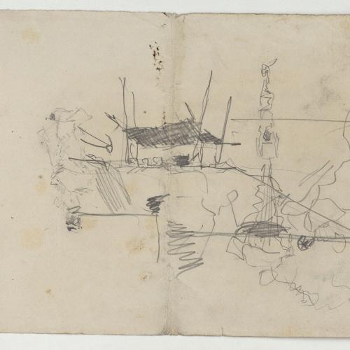 Marià Fortuny - Croquis de un poblado - Hacia 1870-1874