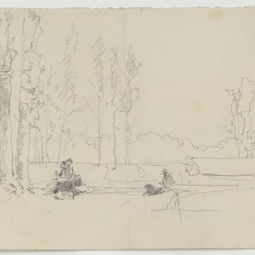 Marià Fortuny - Figures en un bosc (anvers) / Carrer amb figures femenines (revers) - Cap a 1867-1872