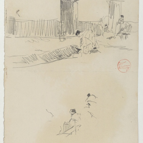 Marià Fortuny - Figures en un bosc (anvers) / Carrer amb figures femenines (revers) - Cap a 1867-1872 [1]
