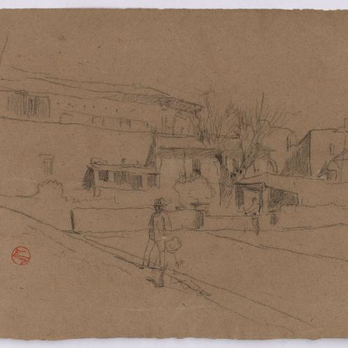 Marià Fortuny - Població amb figures (anvers) / Esbós de figura masculina davant d'una porta (revers) - Cap a 1863-1866