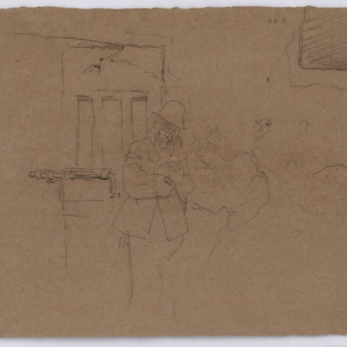 Marià Fortuny - Població amb figures (anvers) / Esbós de figura masculina davant d'una porta (revers) - Cap a 1863-1866 [1]