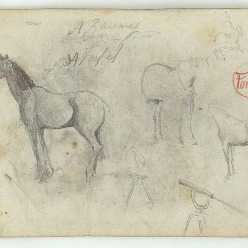 Marià Fortuny - Horses and telescope - Circa 1860