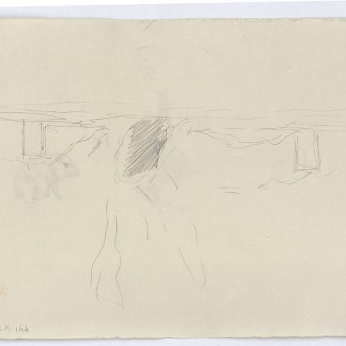 Marià Fortuny - Estudi per al quadre «Els porcs» (anvers) / Croquis inconcret (revers) - Cap a 1872 [1]