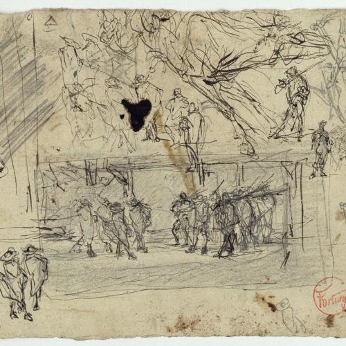 Marià Fortuny - Croquis de figures amb espases (anvers) / Croquis de figura masculina (revers) - Cap a 1870-1872