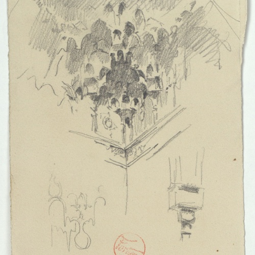 Marià Fortuny - Rough sketch of Muslim-style coffering. Hall of the Abencerrajes in the Alhambra - Circa 1870-1872