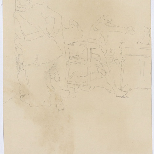 Marià Fortuny - Preliminary drawing of a composition - Circa 1870-1872