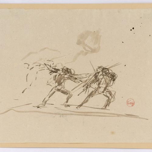 Marià Fortuny - Estudi per al quadre «Passatemps de gentilhomes» - Cap a 1870