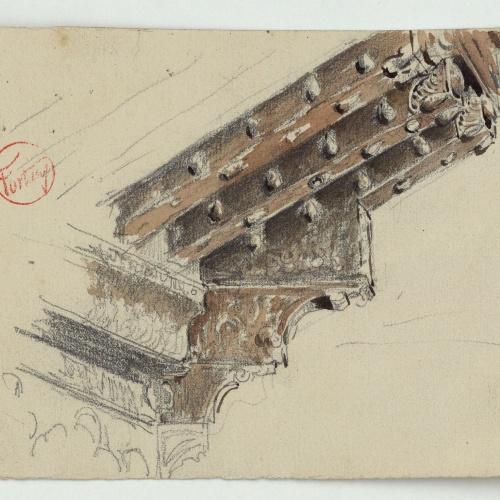 Marià Fortuny - Fris, capitell i bigues del pati dels Arrayanes de l'Alhambra - Cap a 1870-1872