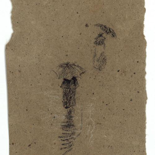 Marià Fortuny - Rough sketch of figures with umbrellas - Circa 1870-1872