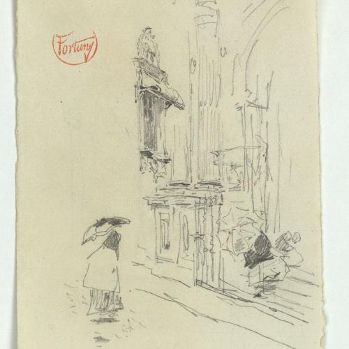 Marià Fortuny - Façana d'església en dia de pluja (anvers) / Entrada amb figura (revers) - Cap a 1868