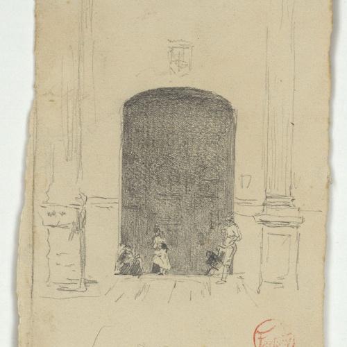 Marià Fortuny - Figures davant la porta d'una església - Cap a 1868-1872