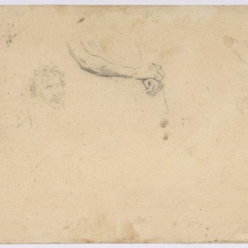 Marià Fortuny - Població marroquina (anvers) / Cap i braços masculins i croquis de figura (revers) - Cap a 1860-1862 [1]