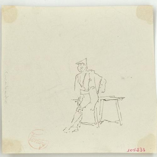 Marià Fortuny - Figura masculina recolzada en una taula (anvers) / Estudi per al quadre «Dinar a l'Alhambra» (revers) - Cap a 1870-1872