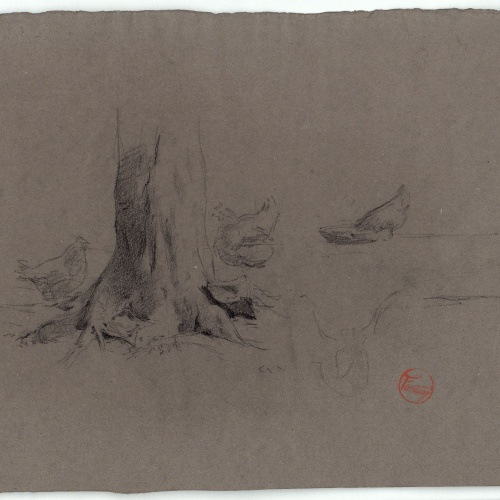 Marià Fortuny - Gallines entorn un tronc d'arbre (anvers) / Gallines i figures masculines (revers) - Cap a 1870