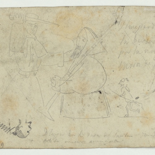 Marià Fortuny - Dibujos en la casa del santón donde está nuestra avanzada (Drawings in the house of the holy man where our advance party is staying) - Circa 1860