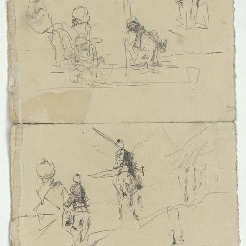 Marià Fortuny - Marroquins asseguts i marroquins a cavall (anvers) / Marroquins asseguts (revers) - Cap a 1860-1862