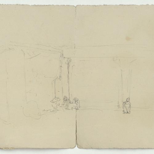 Marià Fortuny - Marroquins asseguts i marroquins a cavall (anvers) / Marroquins asseguts (revers) - Cap a 1860-1862 [1]