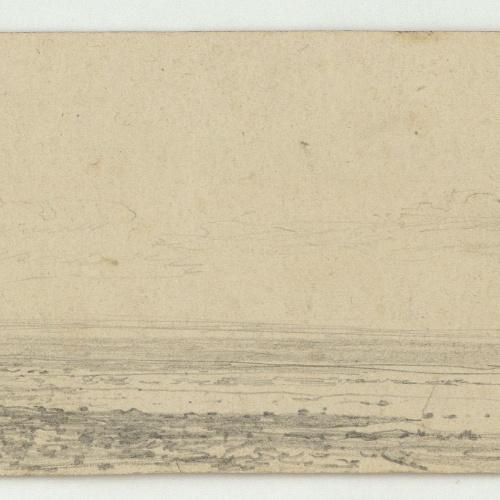 Marià Fortuny - Paisatge marroquí (anvers) / Croquis inconcrets i d'un cap masculí (revers) - Cap a 1860-1862