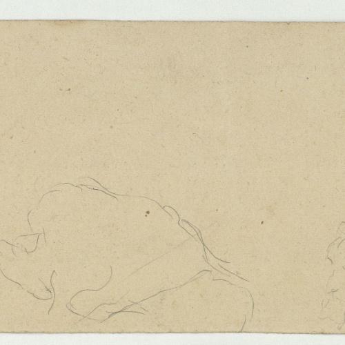 Marià Fortuny - Paisatge marroquí (anvers) / Croquis inconcrets i d'un cap masculí (revers) - Cap a 1860-1862 [1]