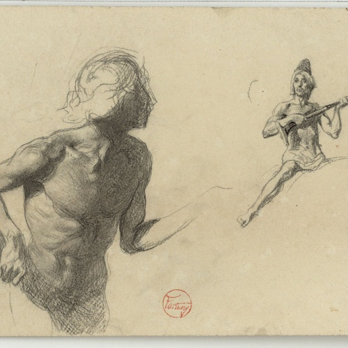 Marià Fortuny - Male nude study and Moroccan with long Moorish musket - Circa 1860-1862