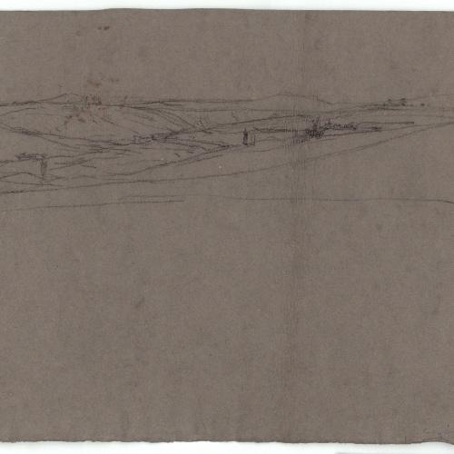 Marià Fortuny - Carrer marroquí (anvers) / Esbós de paisatge (revers) - Cap a 1860-1862 [1]