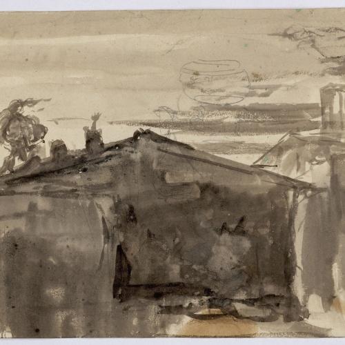 Marià Fortuny - Teulades - Cap a 1856-1858